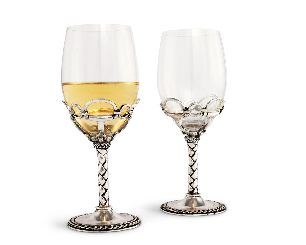 Arthur Court Equestrian Pair of Wine Glasses 444H23