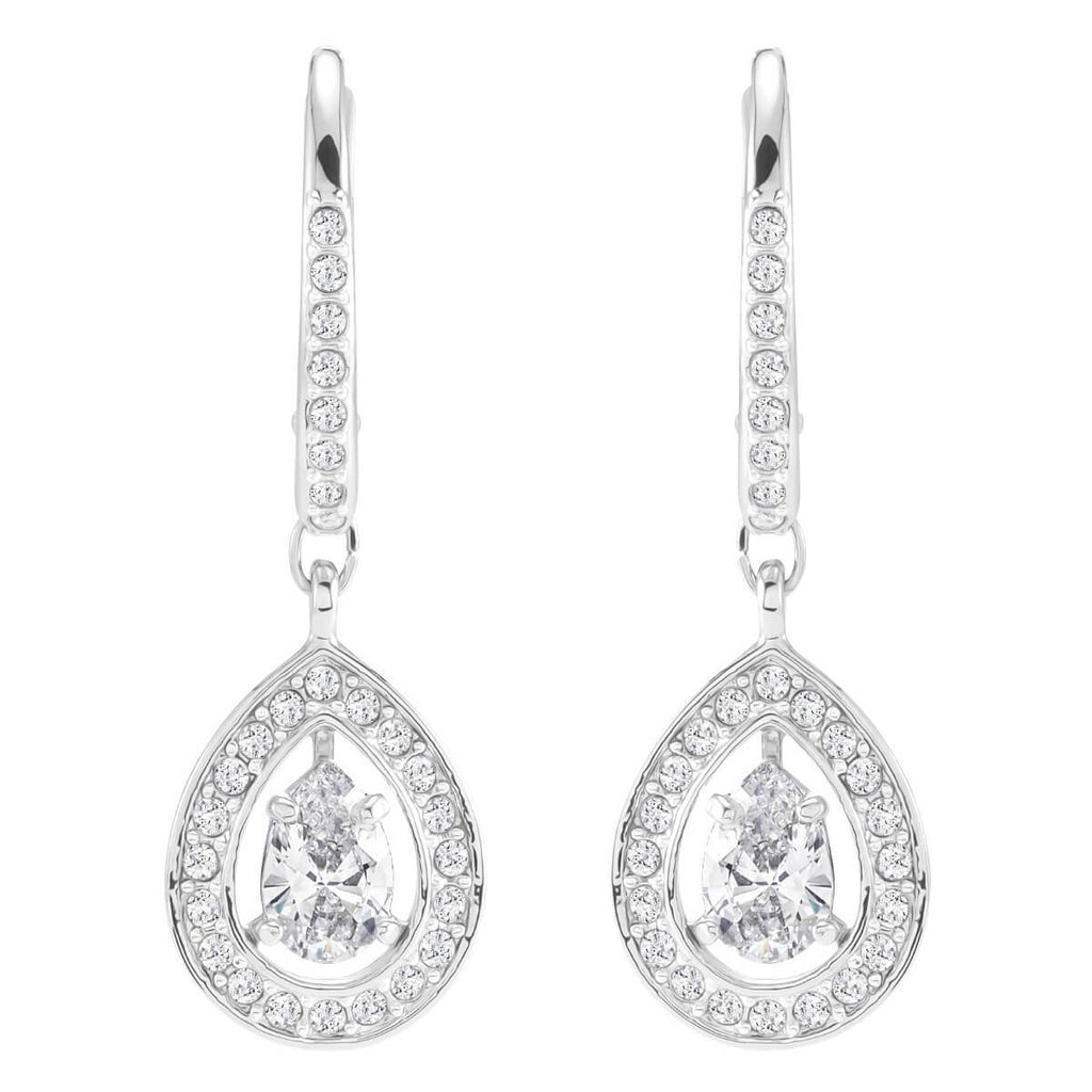 Swarovski Crystal Attract Pear Pierced Earrings White Rhodium Plating 5197458
