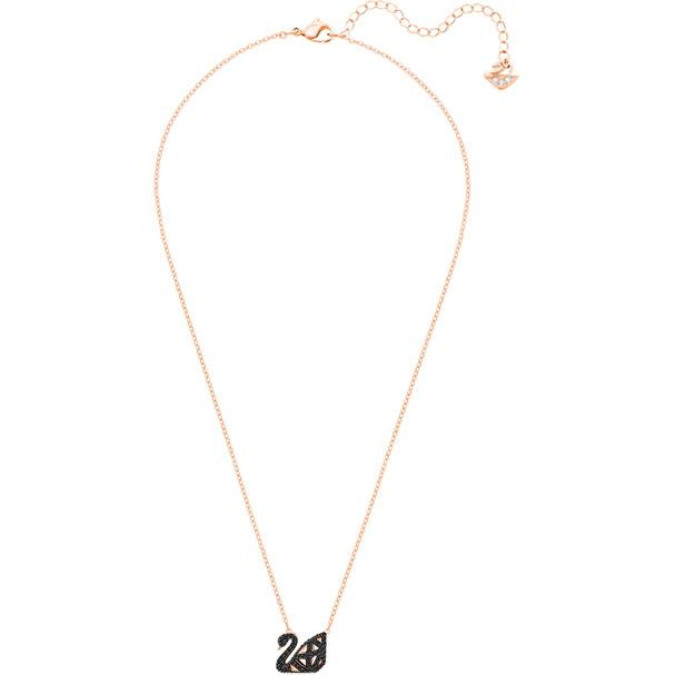 Facet Swan Necklace Black Mixed Plating 5281275