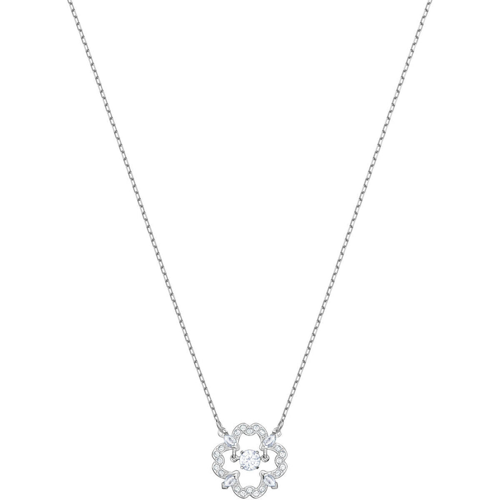 Swarovski Jewelry Sparkling Dance Flower Necklace White Rhodium Plating 5392759