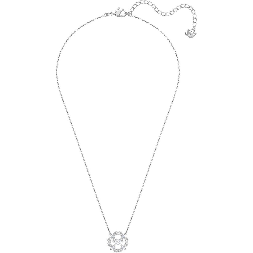 Sparkling Dance Flower Necklace White Rhodium Plating 5392759