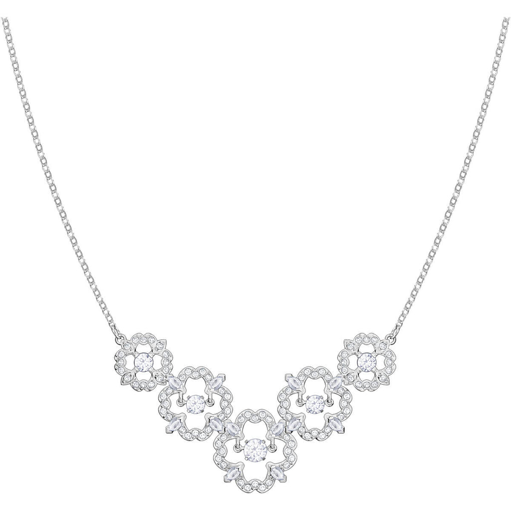 Swarovski Jewelry Sparkling Dance Flower Necklace Medium White Rhodium Plating 5397240