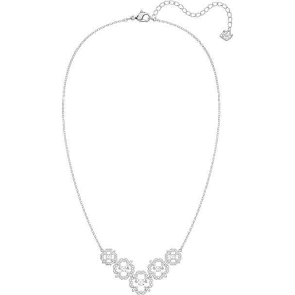 Sparkling Dance Flower Necklace Medium White Rhodium Plating 5397240