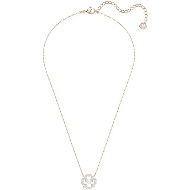 Sparkling Dance Pear Necklace White Rose Gold Plating 5408437