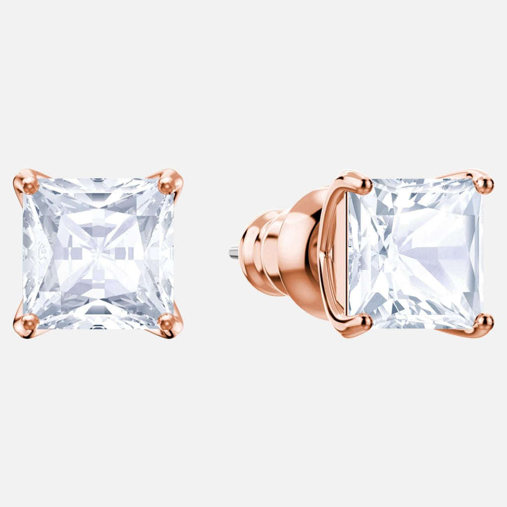 Swarovski Jewelry Attract Stud Pierced Earrings White Rose Gold Tone Plated 5431895