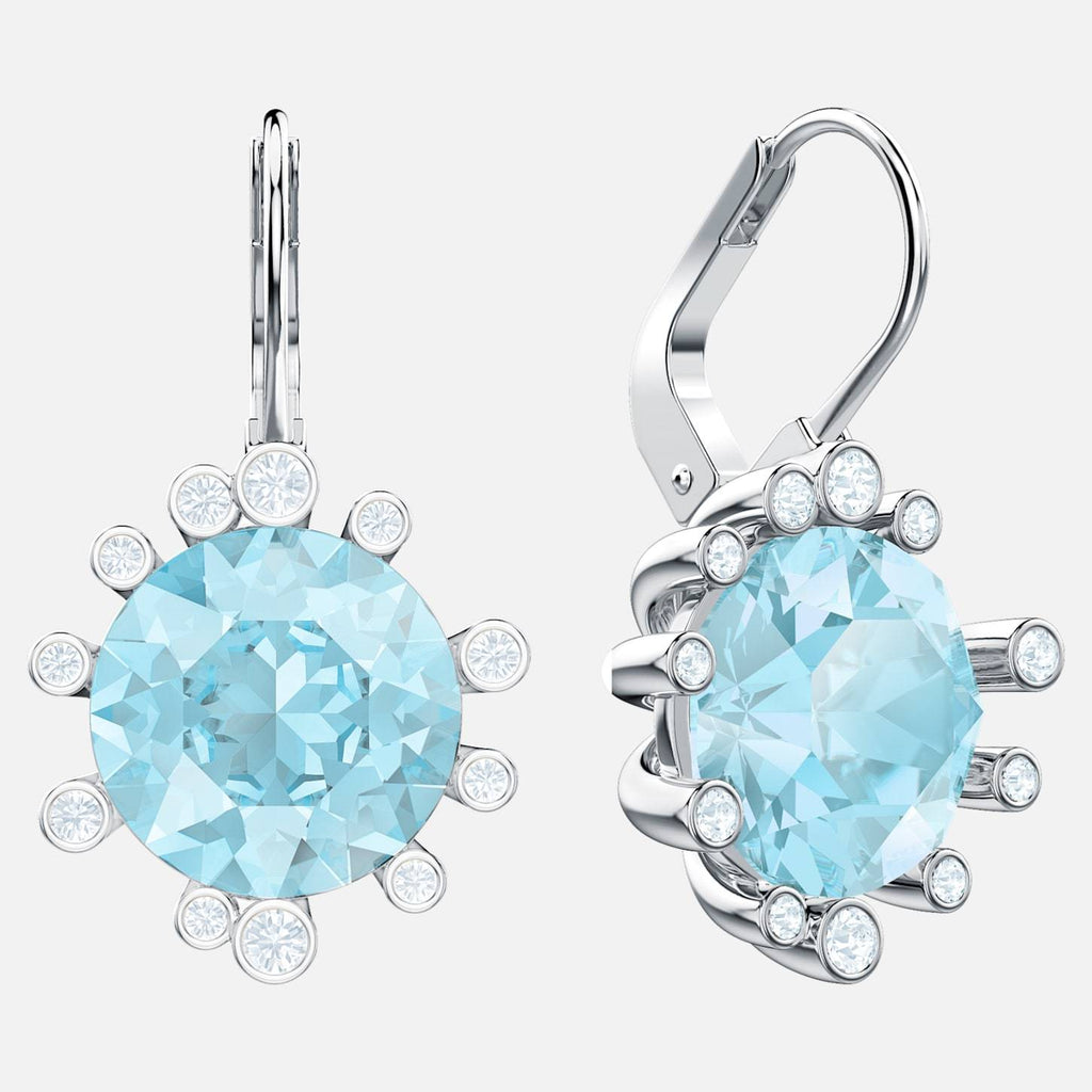 Swarovski Jewelry Olive Pierced Earrings Aqua Rhodium Plated 5479927