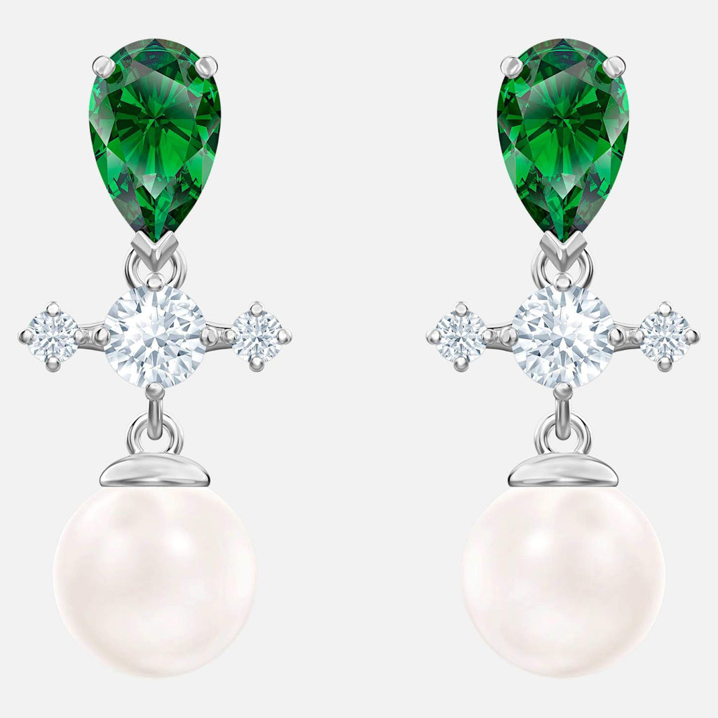 Swarovski Jewelry Perfection Drop Pierced Earrings Green Rhodium Plated 5489440