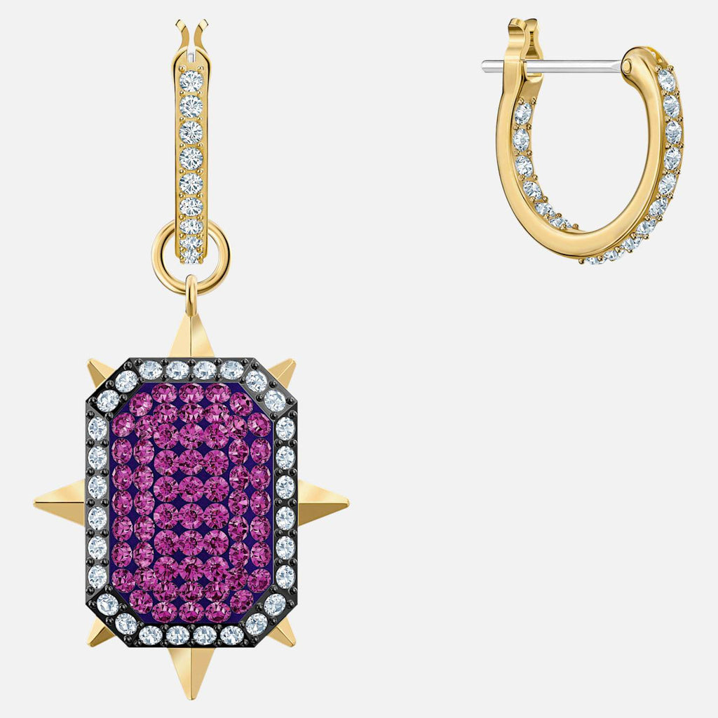 Swarovski Jewelry Swarovski Jewelry Tarot Magic Hoop Pierced Earrings Purple Gold Tone Plated 5490915