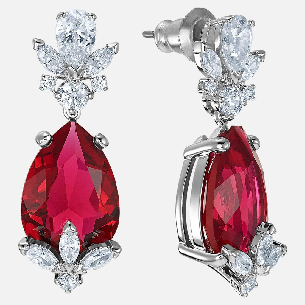 Swarovski Jewelry Louison Drop Pierced Earrings Red Rhodium Plated 5495078