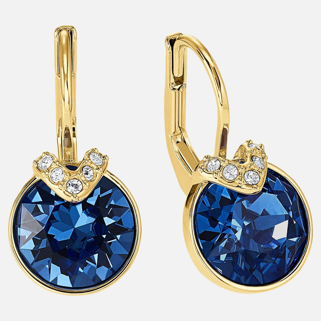 Swarovski Jewelry Bella V Pierced Earrings Blue Gold Tone Plated 5498875