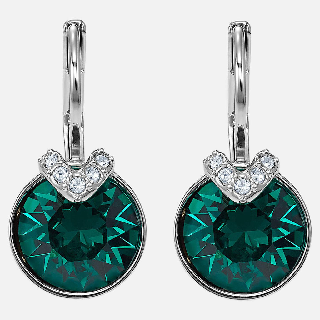 Swarovski Jewelry Bella V Pierced Earrings Green Rhodium Plated 5498876