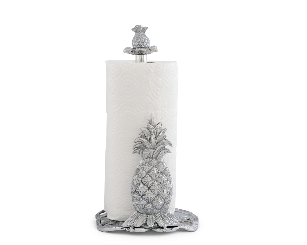 "Arthur Court Pineapple Countertop Decorative Paper Towel Holder Aluminum Metal 14.5"" Standing Tall"