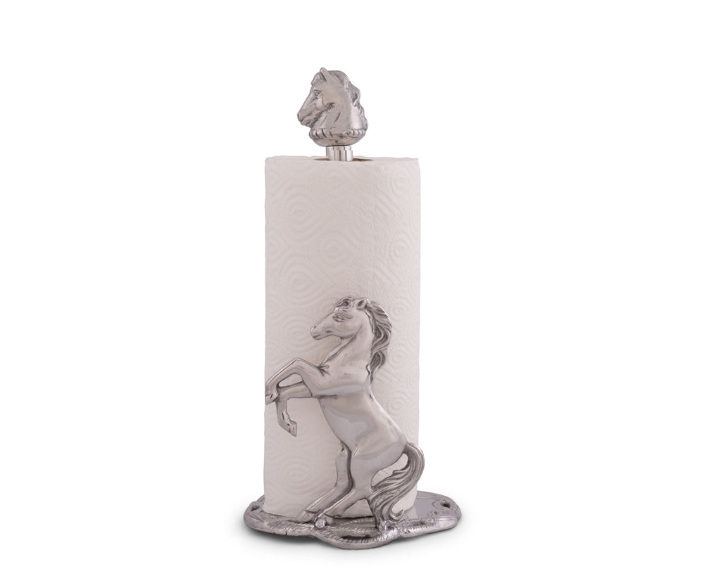 "Arthur Court Designs Aluminum Horse Decorative Paper Towel Holder Aluminum Metal 14.5"" Standing Tall"