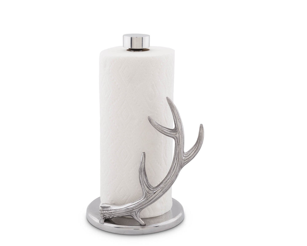 "Arthur Court Designs Counter Top Decorative Deer Antler Paper Towel Holder - Aluminum Metal 13"" Standing Tall on Countertop"
