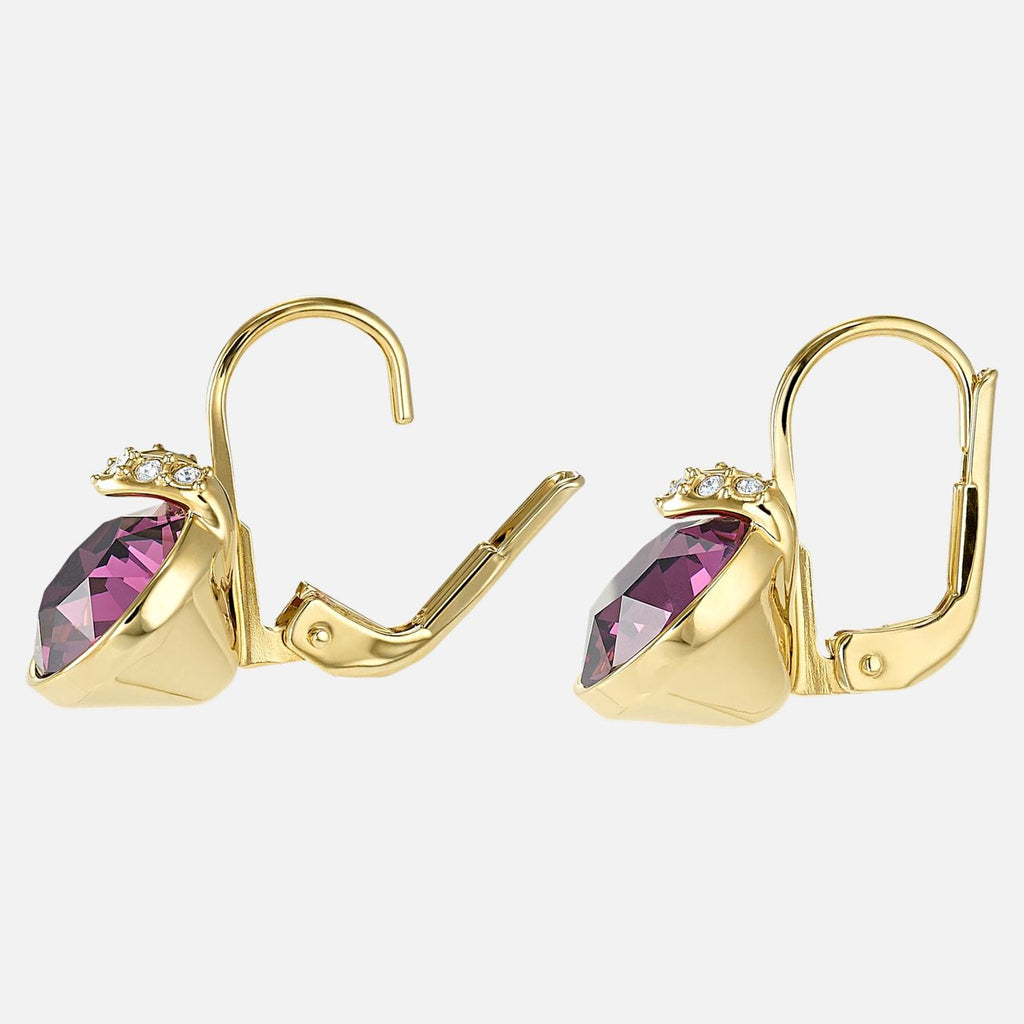 Swarovski Jewelry Bella V Pierced Earrings Purple Gold Tone Plated 5509404