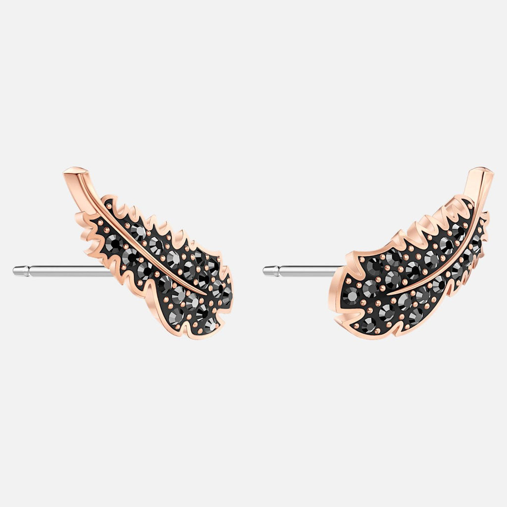 Swarovski Jewelry Naughty Pierced Earrings Black Rose Gold Tone Plated 5509722