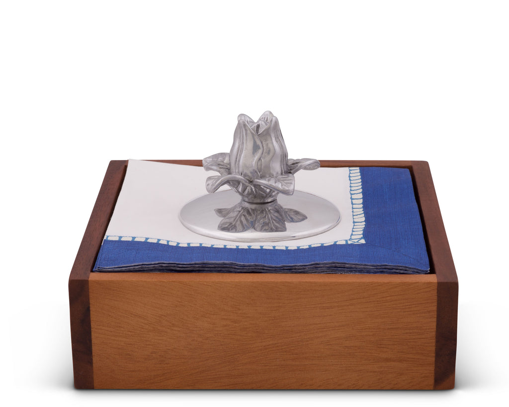 Arthur Court Magnolia Flower Napkin Weight or Office Paperweight for Outdoor Napkin Paper Towel Holder Metal One Size Silver Base 3.75 Inch Diameter