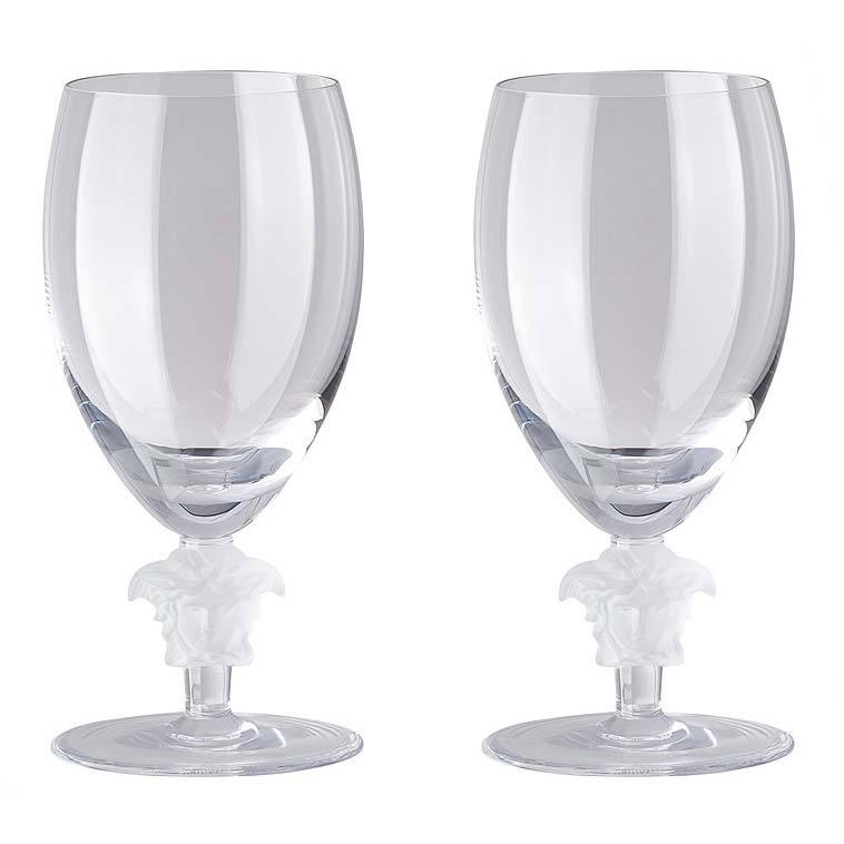 Versace Medusa Lumiere 2 Short Stem Clear White Wine Set Of Two 69129-110835-48806