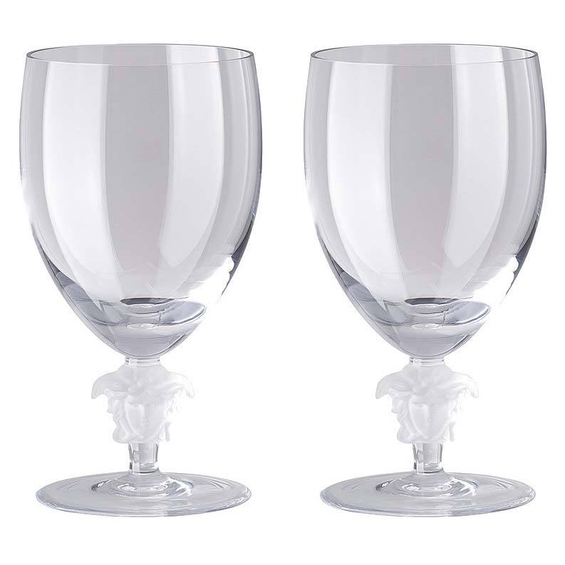 Versace Medusa Lumiere 2 Short Stem Clear Water Goblet Set Of Two 69129-110835-48814