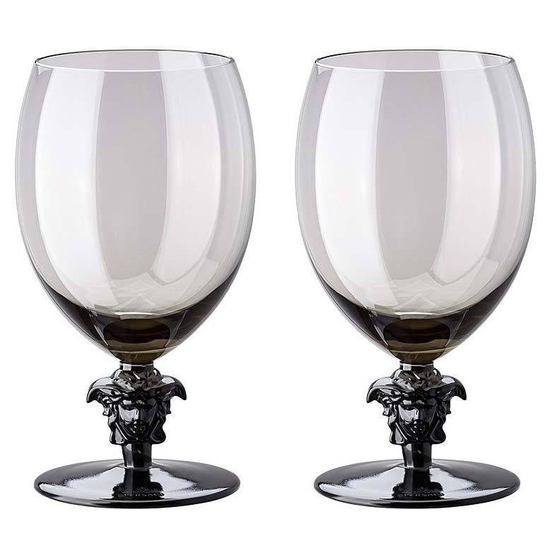 Versace Medusa Lumiere 2 Short Stem Haze Water Goblet Set Of Two 69129-321392-48814