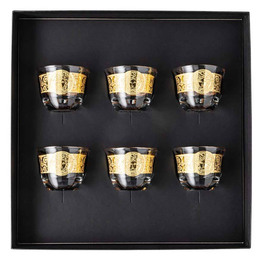 Versace Arabic Glass Coffee Set Of 6 Mugs Small No Handle Gold 69157-321568-48675