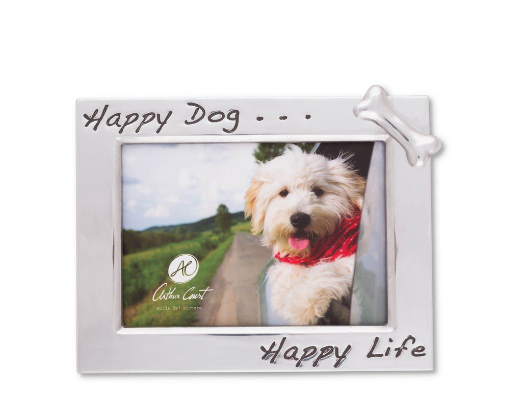 "Arthur Court 'Happy Dog Happy Life' Bone Embellished 5"" x 7"" Photo / Picture Frame - Perfect gift for dog lover"