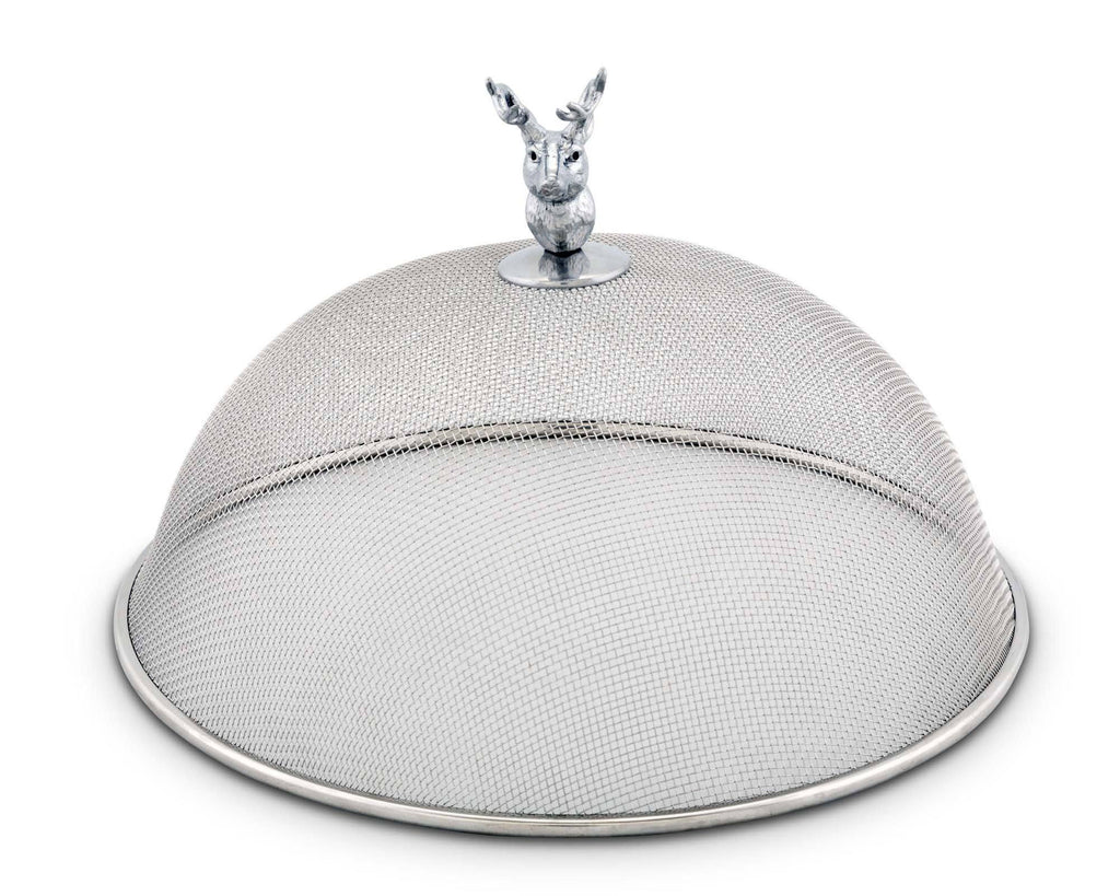 "Arthur Court Stainless Steel Mesh Picnic Food Cover Protectors For Bugs, Parties Picnics, BBQs  / Cast Aluminum Elk Head Knob 5.5"" Tall  x 10.5"" Diameter"