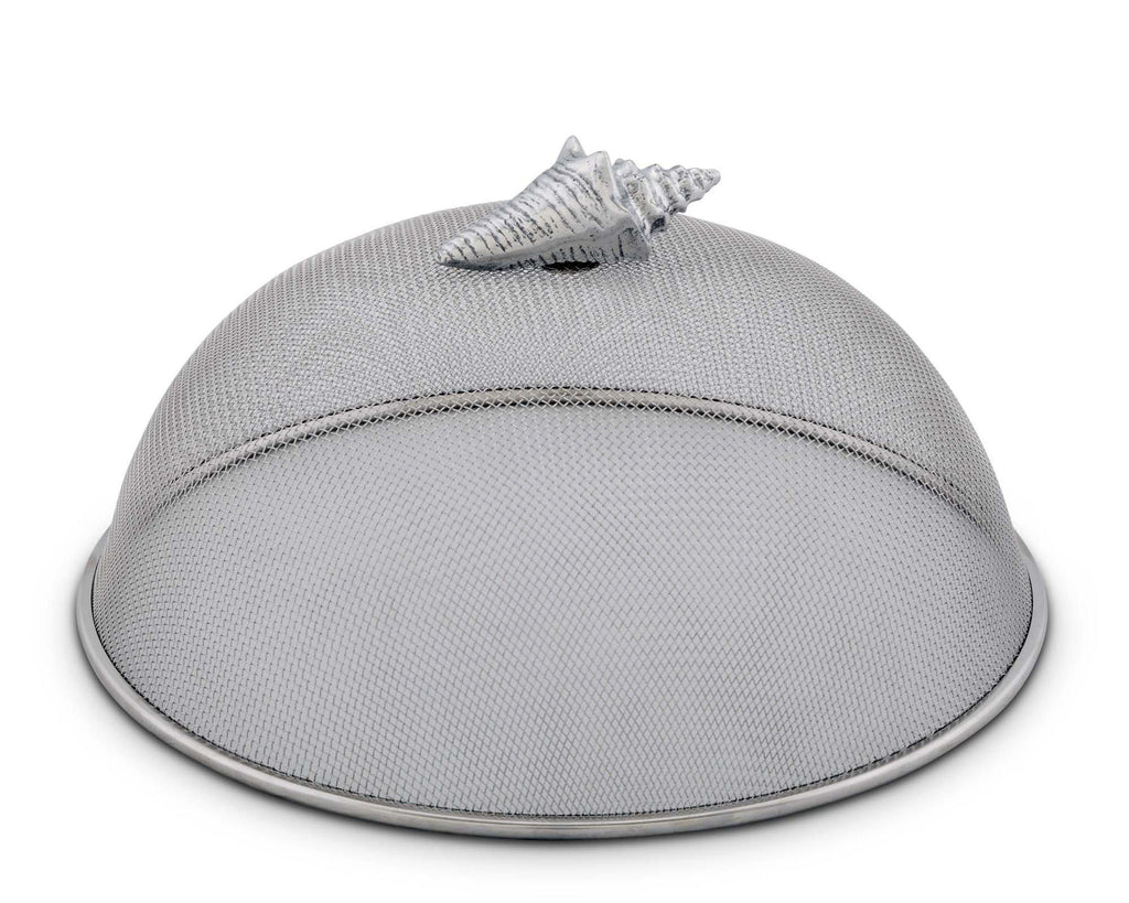 "Arthur Court Stainless Steel Mesh Picnic Food Cover Protectors For Bugs, Parties Picnics, BBQs  / Cast Aluminum Conch Shell Ocean Knob 5"" Tall  x 10.5"" Diameter"