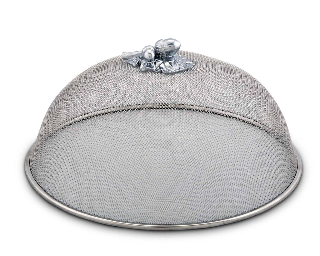 "Arthur Court Stainless Steel Mesh Picnic Food Cover Protectors For Bugs, Parties Picnics, BBQs  / Cast Aluminum   Olive Pattern Knob  5"" Tall  x 10.5"" Diameter"