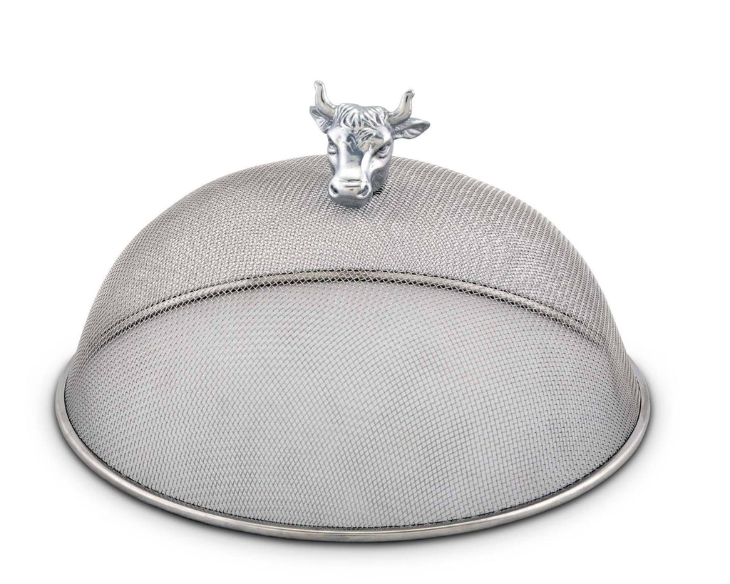 "Arthur Court Stainless Steel Mesh Picnic Food Cover Protectors For Bugs, Parties Picnics, BBQs  / Cast Aluminum  Cow Head Knob 5.5"" Tall  x 10.5"" Diameter"