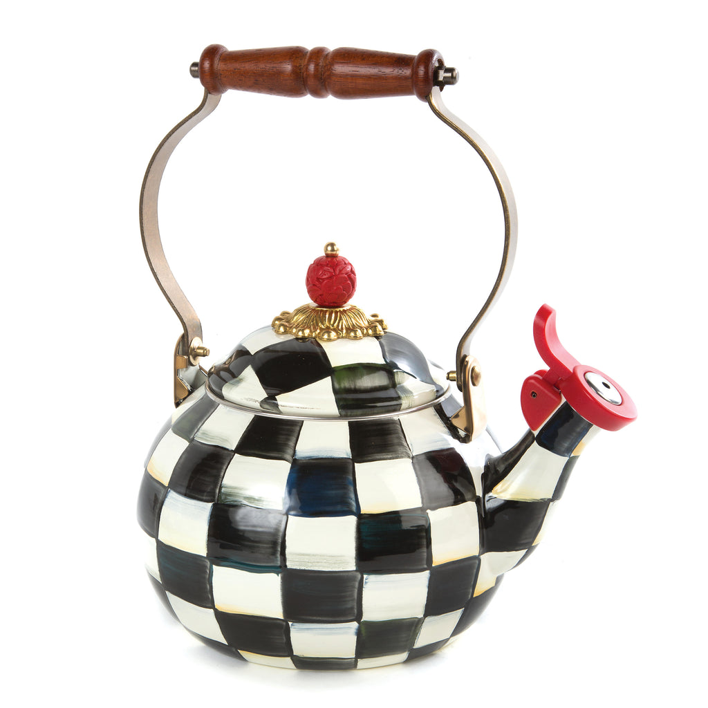 MacKenzie Childs Courtly Check Whistling Tea Kettle Enamel 89275-40