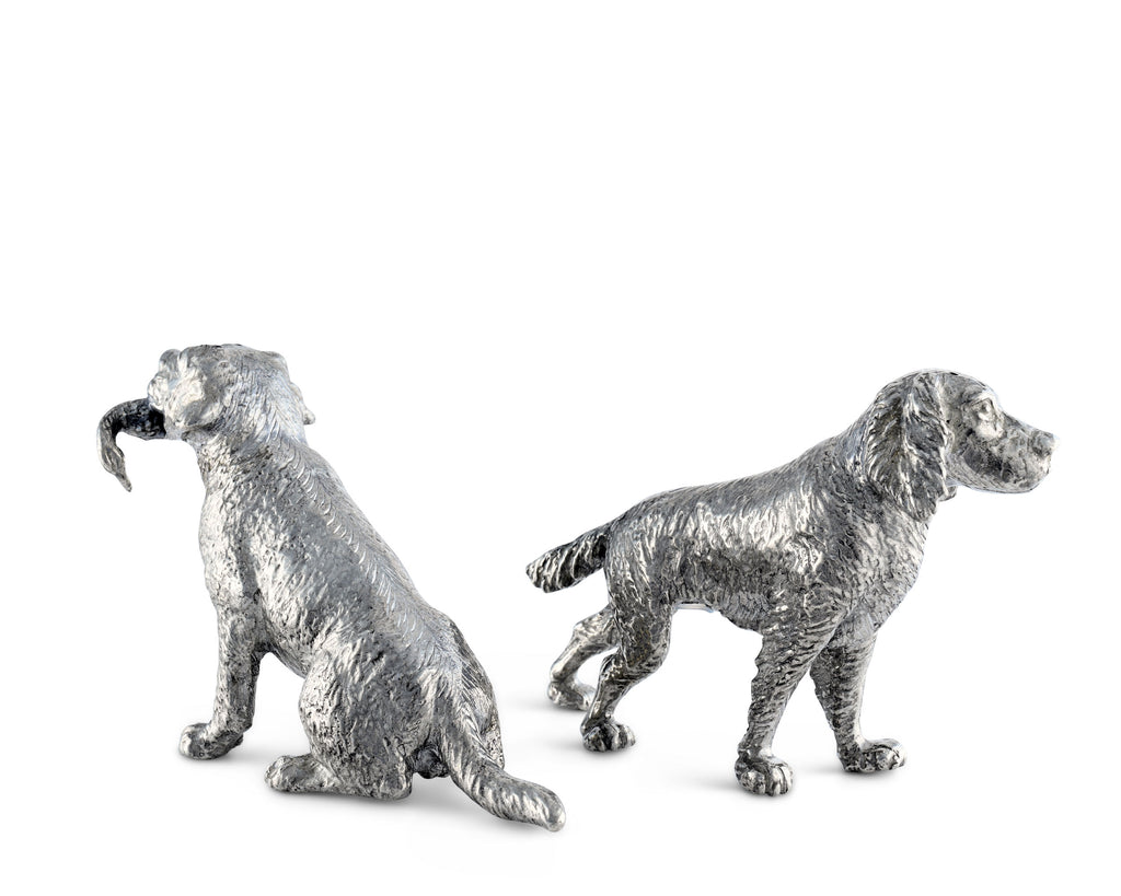 Vagabond House Morning Hunt Pewter Hunting Dogs Salt & Pepper Set B116H