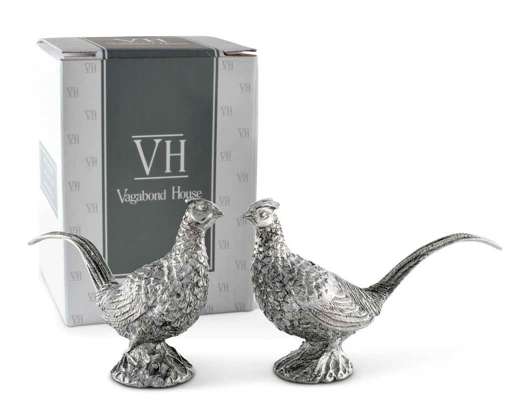 Vagabond House Morning Hunt Pewter Pheasants Salt & Pepper Set B116P