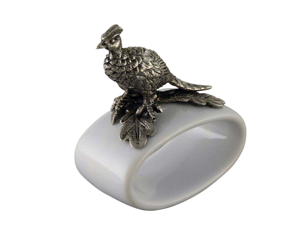 Vagabond House Morning Hunt Pheasant Stoneware Napkin Ring B316P-1