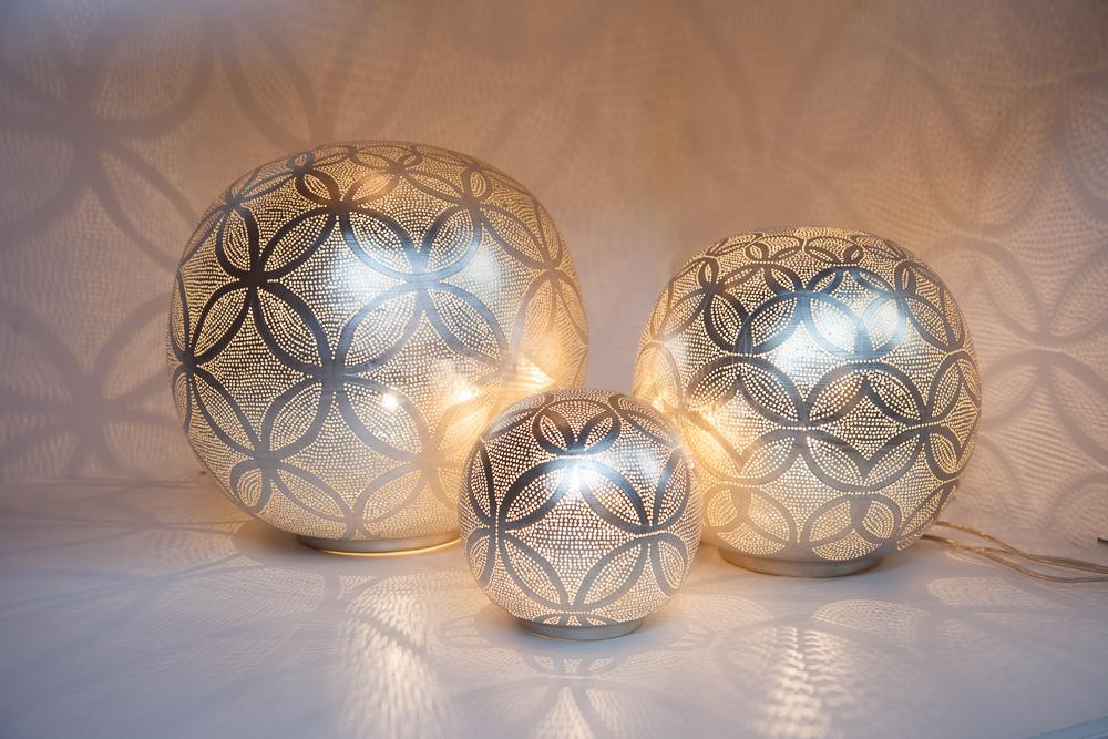 Zenza Table Lamp Ball Circles XL Nickel Table Light BALXLCIRTL