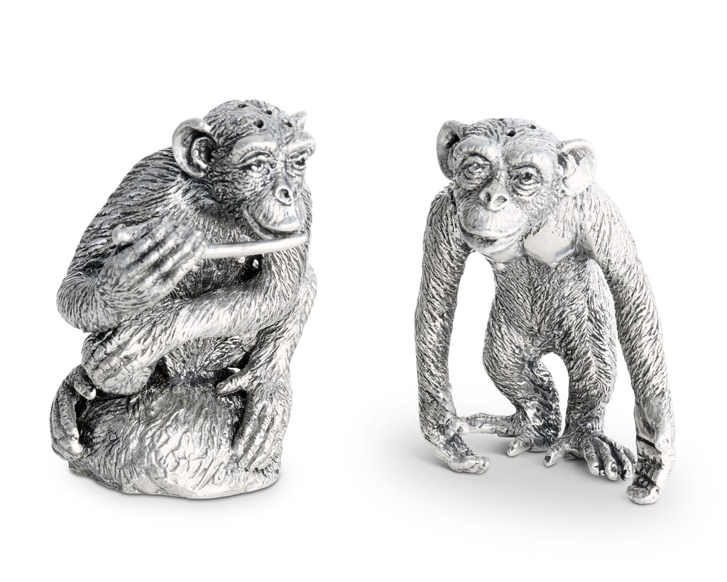 Vagabond House Safari Pewter Chimp Salt and Pepper C116P