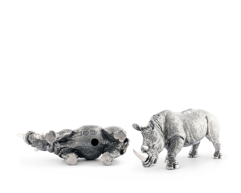 Vagabond House Safari Pewter Rhinos Salt & Pepper Set C116R