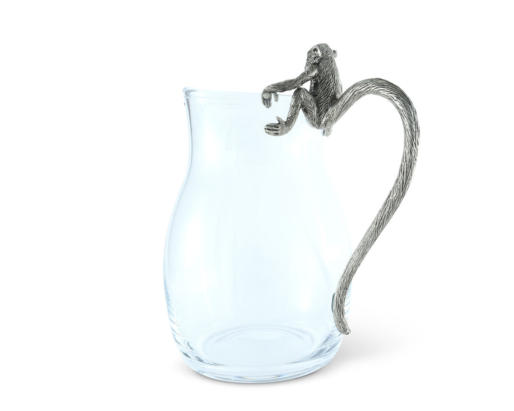 Vagabond House Safari Glass Pitcher Pewter Monkey Handle C450M