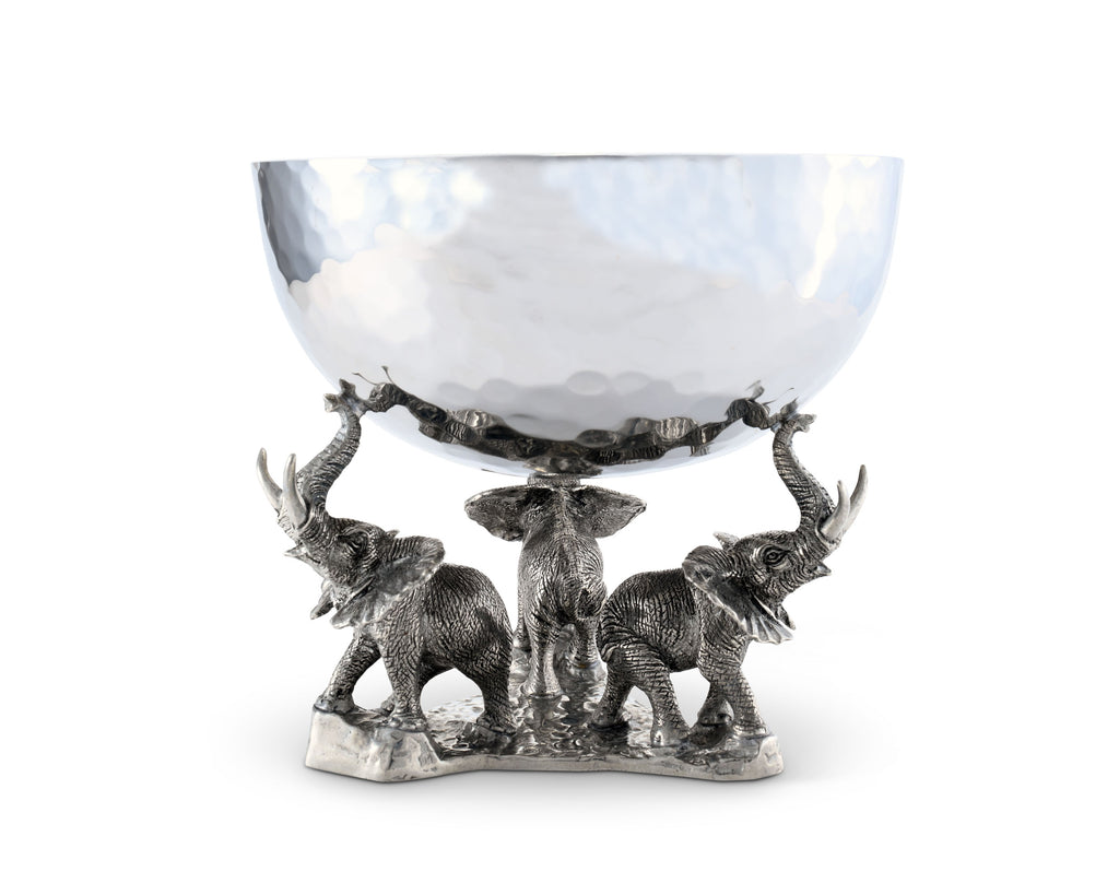 Vagabond House Safari Stainless Nut Bowl Pewter Elephant Base C809E