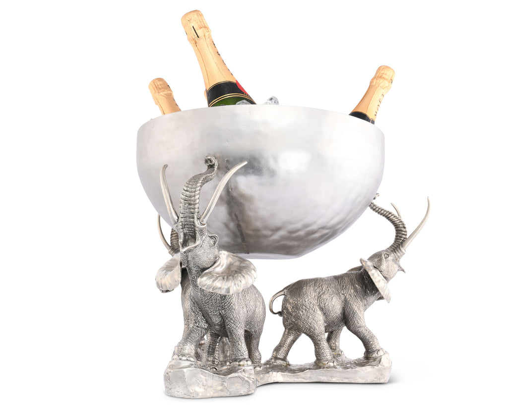 Vagabond House Safari Pewter Elephant Trio Ice Punch Tub Stainless C818E
