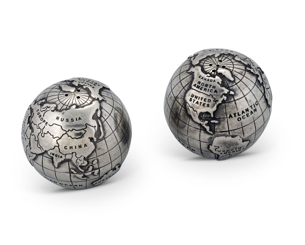 Vagabond House Medici Living Pewter World Globe Salt & Pepper Set D116G