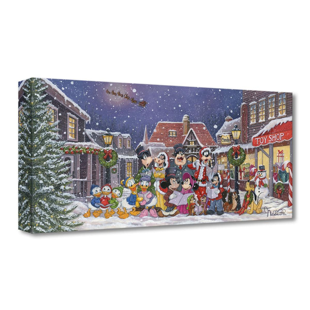 Disney Fine Art - A Snowy Christmas Carols Treasures On Canvas