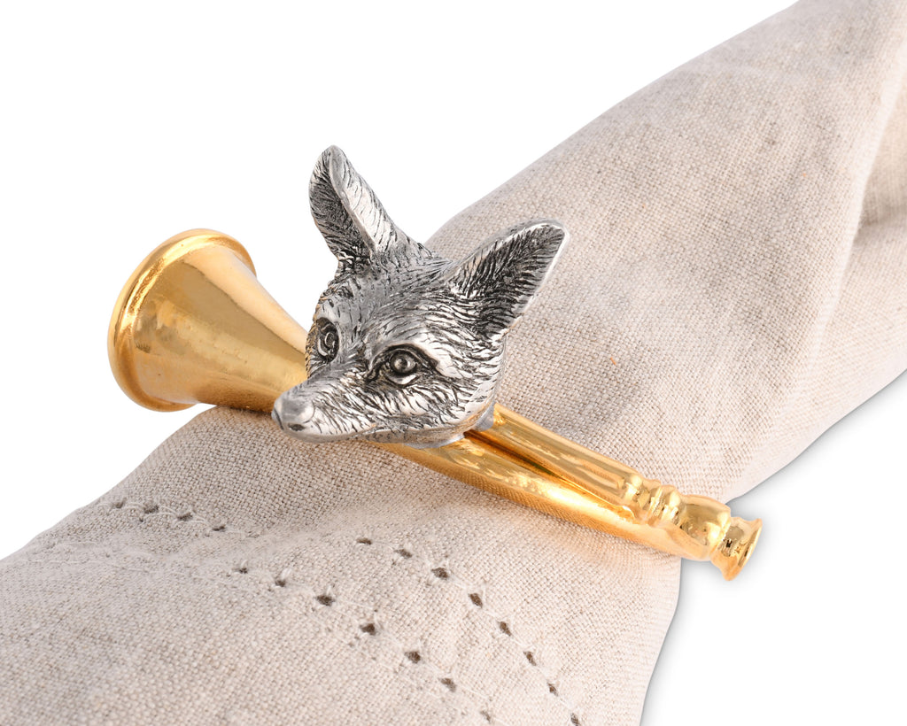 Vagabond House Morning Hunt Golden Hurt Horn Napkin Ring E115GH