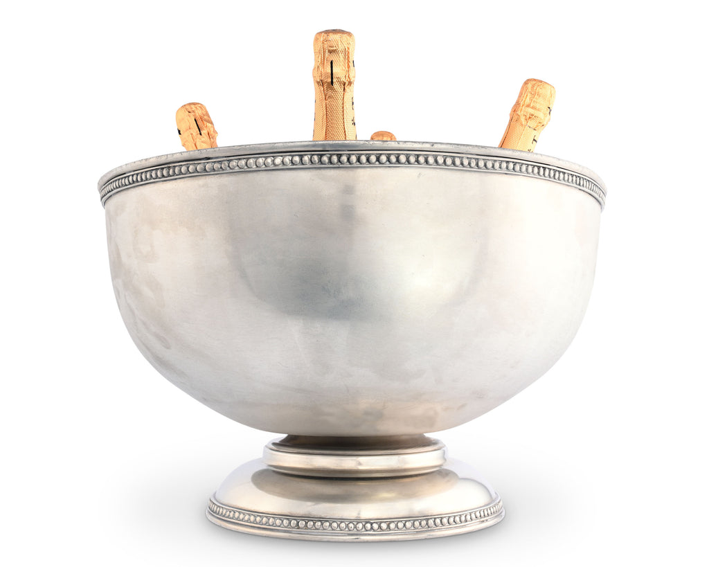 Vagabond House Medici Living Pewter Medici Bead Ice Tub/Punch Bowl E119B