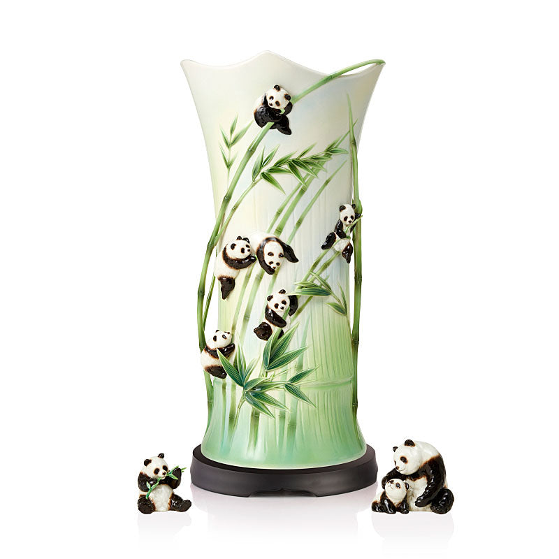 Franz Collection A Cheerful Life Panda Porcelain Vase (LE 988) FZ03804