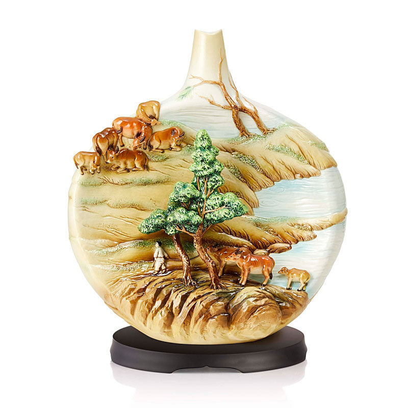 Franz Collection One Hundred Blessings Buffalo Porcelain Vase Set w/ wooden base (LE 88) FZ03844