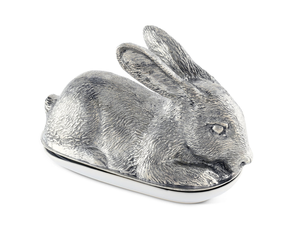 Vagabond House Morning Hunt Pewter Rabbit Butter Dish G108R