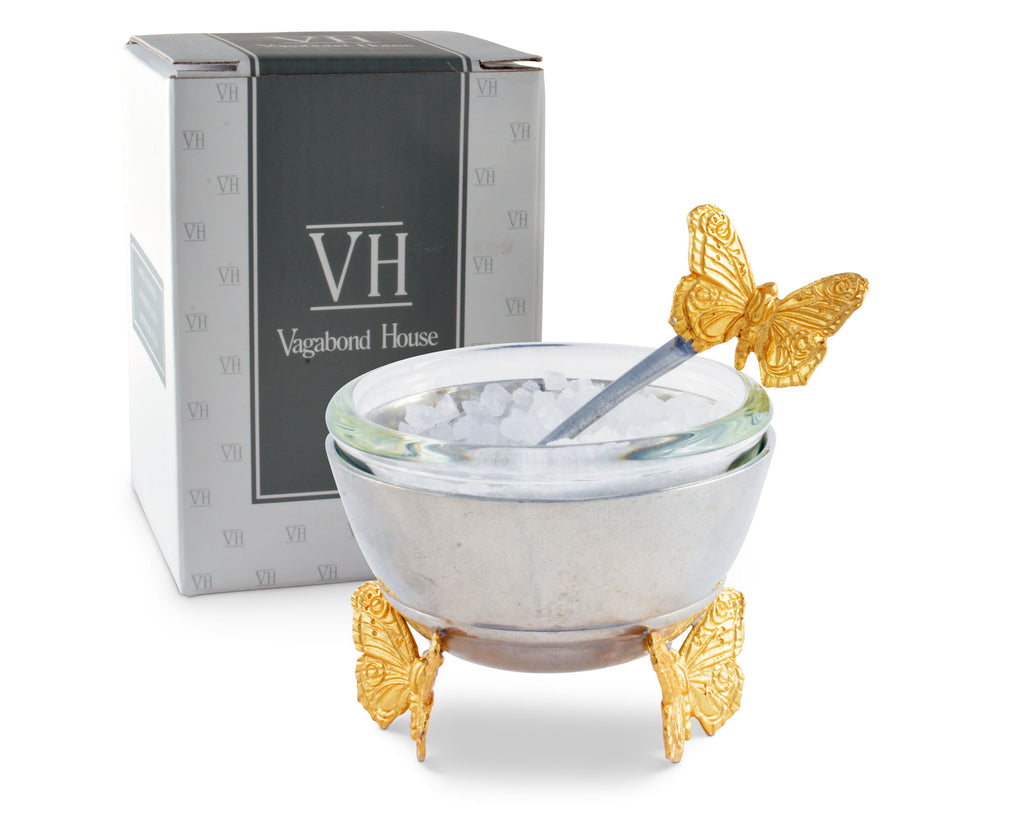Vagabond House Garden Friends Gold Butterfly Salt Cellar with Spoon G125GB