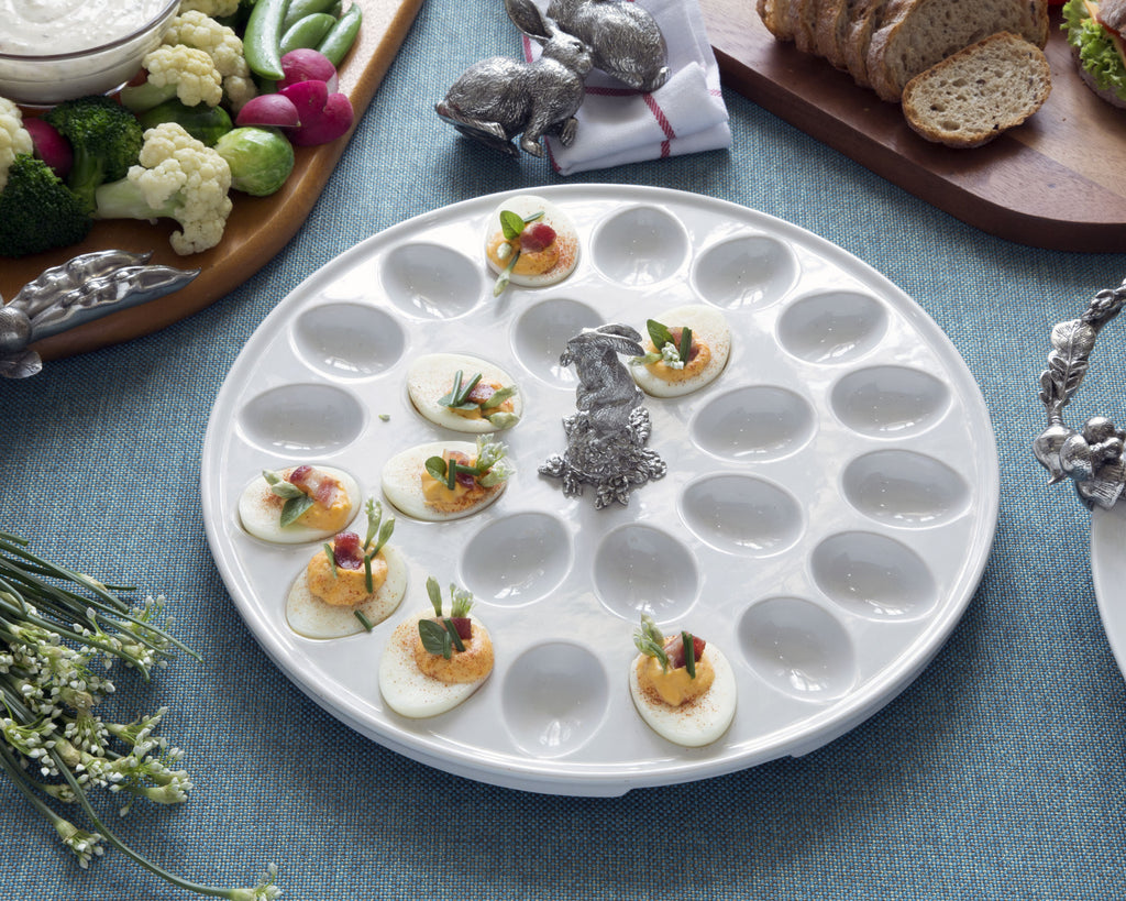Vagabond House Garden Friends Deviled Egg Tray with Pewter Standing Rabbit G302SR