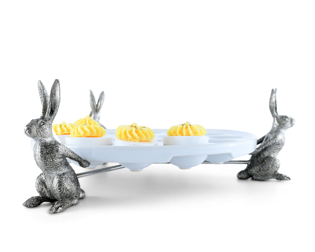 Vagabond House Garden Friends Rabbit Deviled Egg Holder G303RT